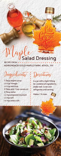 Add a little sweetness to your salad with maple salad dressing! Recipe from Adirondack Gold Maple Farm in the Lake George Area! #adirondacks #maple