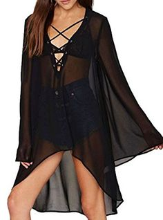 Women's Sexy Deep V Neck Long Sleeve Sheer Swimsuit Cover Up Beach Party Dress (Black) at Amazon Women's Clothing store:
