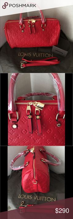 LV SPEEDY BANDOULIÈRE 30 RED Every feature of this Speedy is iconic: the unique shape, the leather handles. No wonder it has achieved cult status the world over. Designed for travellers in 1930 (the name is a nod to the era's rapid transit), with a strap for shoulder or cross-body wear, today's Speedy 30 is a perfect city bag – supple, lightweight and forever in style. This new reading of a House icon, crafted of embossed Empreinte leather, is a timelessly elegant bag for the fashionable…