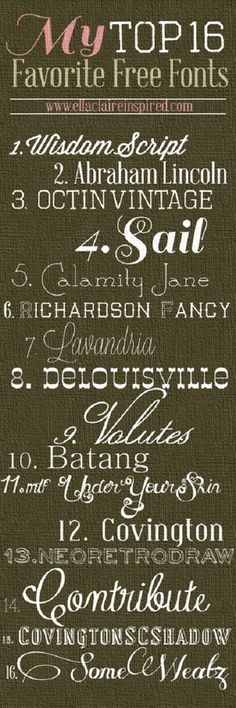 16 Favorite FREE Fonts