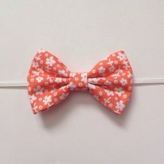 Fabric Bow Headband--Peach Flower Pattern