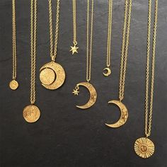 Various gold necklaces form ' Sun, moon and stars' collections . Various gold necklaces form ' Sun, moon and stars' collections . Moon Jewelry, Cute Jewelry, Jewelry Accessories, Jewelry Necklaces, Gold Bracelets, Gold Earrings, Wedding Jewelry, Pearl Necklaces, Geek Jewelry