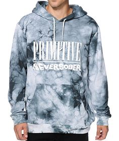 """Stand out on the streets with a light black tie dye design that shows off a white """"Primitive Never Sober"""" chest graphic."""