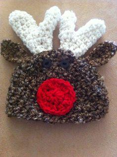 Crochet Baby Hat Rudolph reindeer Christmas Photo Prop Newborn baby