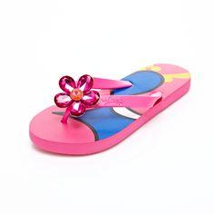 4c447f3da4f88 Miss Trish Gem Flower Warm Pink Flip Flops