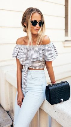 #spring #outfits Striped Off The Shoulder Crop Top + Bleached Denim Jeans