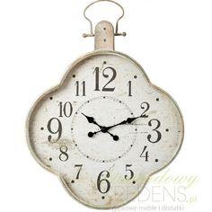 Ciekawy zegar ścienny Clayre & Eef o nietypowym kształcie i obudowie wykonanej z metalu i celowo stylizowanej na starą