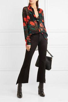 GANNI   Newman floral-print georgette shirt   NET-A-PORTER.COM