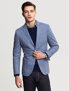 Modern Slim-Fit Chambray Blazer from BR. Add some kick to your wardrobe.
