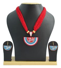 Handmade Terracotta Jewellery, Necklace Earring Set, Red / Blue – SharePyar