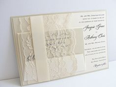 Lace Invitations by Lavender Paperie, the ORIGINAL lace wedding invitation boutique on Etsy. Specializing in creating lace invitations for