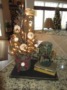 This set of three hanging primitive Christmas decorations in the shape of Christmas trees have real cinnamon stick tree trunks with a beautiful cinnamon scent. Description from pinterest.com. I searched for this on bing.com/images