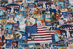 Eureka Timeless Treasures Patriotic Fabric by Loriscountryfabrics, $6.95