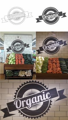 organic logo design, and display in supermarket