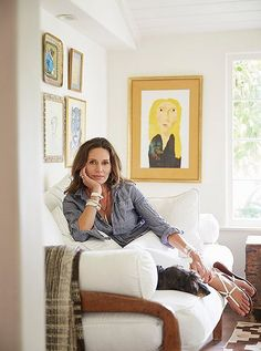 Kendall Conrad lounges at home in her classically Spanish-style Santa Barbara home.