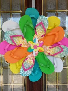 SUMMER Handmade Flip Flop Wreath Door Decor Pink Aqua Yellow Green Orange