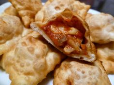 "Homemade Pizza Rolls. They are basically fried raviolis filled with pizza ""toppings"""
