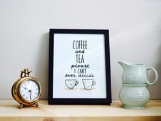 Print  Coffee and Tea Please Wall Art  Cute by THEBRANCHANDTHEVINE
