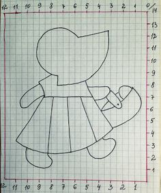 Figure (diagram) and pattern. Applique on the fabric. Applique Patterns, Applique Quilts, Embroidery Applique, Cross Stitch Patterns, Quilt Patterns, Sue Sunbonnet, Japanese Quilts, Quilting Board, Quilting Templates