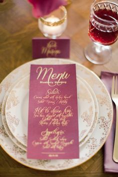 Gold calligraphy | Anastasiya Belik Photography | http://burnettsboards.com/2013/12/mixed-berry-wedding-color-palette/