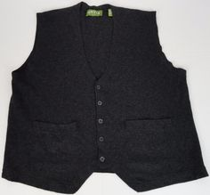 Orvis Mens XL Sweater Vest Button Merino Wool Cashmere Blend Dark Heather Gray  #Orvis #Cardigan