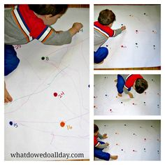 Motor Skills Activity: Giant Dot-to-Dot you could also do this on a big window/slider. Works on visual scanning, tracking. You could incorporate multiplication tables, sight words, letter identification, addition problems etc Visual Motor Activities, Preschool Activities, Motor Planning, Preschool Math, Maths, Pre Writing, Gross Motor Skills, Exercise For Kids, Kids Education
