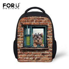 Cute 12 inch School Bags for Kids 3D Animal Cat Dog Printing Kids Schoolbags Casual Child Baby Kindergarten Book Bags Mochila