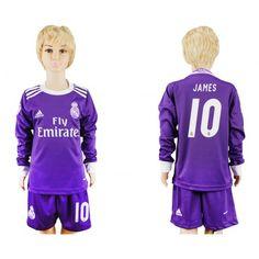 Real Madrid Fotbollskläder Barn 16-17 #James Rodriguez 10 Bortatröja Långärmad,275,98KR,shirtshopservice@gmail.com