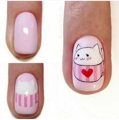 Cartoon Nail Designs, Animal Nail Designs, Nail Art Designs, Cat Nail Art, Animal Nail Art, Diy Kawaii Nails, Love Nails, Pink Nails, Korea Nail Art