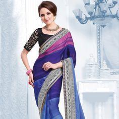 #Blue Satin #Saree with Blouse