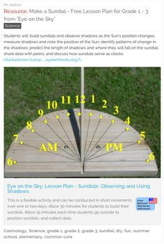 "Make a Sundial - Free Lesson Plan for Grades 1 - 3 from ""Eye on the Sky"" #math…"