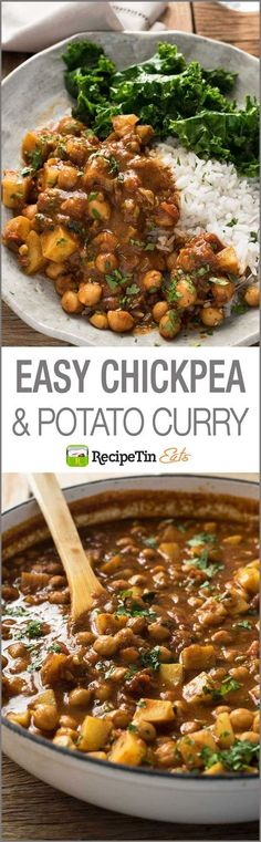 Chickpea Curry with Potato (Chana Aloo Curry) Chickpea Potato Curry – an authentic recipe that's so easy, made from scratch, no hunting down unusual ingredients. Chickpea Recipes, Veggie Recipes, Indian Food Recipes, Whole Food Recipes, Vegetarian Recipes, Dinner Recipes, Cooking Recipes, Healthy Recipes, African Recipes