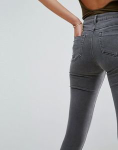 ASOS RIDLEY High Waist Skinny Jeans in Slated Gray - Gray