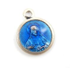 Vintage French Sacred Heart of Jesus Blue Enamel Catholic Medal - Our Lady of Mount Carmel Religious Charm by LuxMeaChristus