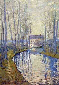 Rivière et moulin près de Giverny by Claude Monet .The mill painted is in question - 'Maybe it was Cossy's or Gommencourt's, but it's not Giverny's'. Monet Paintings, Paintings I Love, Landscape Paintings, Indian Paintings, Abstract Paintings, Painting Art, Claude Monet, Artist Monet, Impressionist Paintings