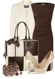 otoño - vestido marrón, chaqueta marfil