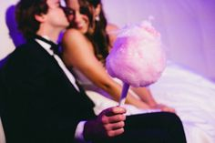 Sweet reception touch: cotton candy! Wedding at Jefferson Hotel in Richmond, Virginia with Photos by Holland Photo Arts | via junebugweddings.com
