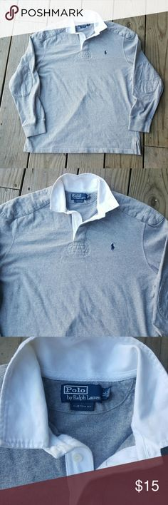 Long sleeve polo by Polo by Ralph Lauren Grey, white collar, cotton  Xl Polo by Ralph Lauren Shirts Polos