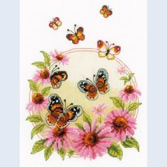Echinacea with Butterflies - kruissteekpakket met telpatroon Vervaco