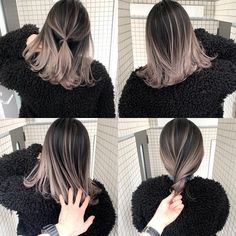 Image may contain: one or more people Hair Color Streaks, Ombre Hair Color, Cool Hair Color, Hair Highlights, Medium Hair Styles, Short Hair Styles, Korean Hair Color, Brown Hair Balayage, Aesthetic Hair