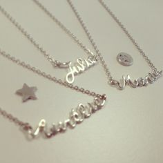 Silver necklaces designed by Anne Zellien. You can make your own necklace. Use your own words and choose your favorite charm: ☆, ♥, ... http://annezellien.twikit.com