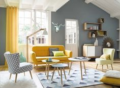 Other Scandinavian living room design ideas might include the balance between an inside and outdoor spaces. Let us show you some Scandinavian living room design ideas for you to get the gist of it and, who knows, find your new living room décor. Retro Living Rooms, Home Living Room, Living Room Designs, Living Room Decor, Modern Living, Small Living, Cozy Living, Apartment Living, Grey And Yellow Living Room