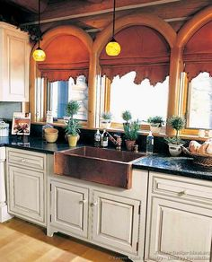 Experience the untamed beauty and natural feel of log home kitchens in this photo gallery and article featuring kitchen design ideas for log cabins. White Farmhouse Sink, Copper Farmhouse Sinks, Farmhouse Kitchen Cabinets, Copper Kitchen, Kitchen Redo, New Kitchen, Kitchen Ideas, Rustic Farmhouse, Kitchen Sinks