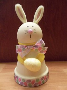 Clay Pot Yellow Easter Bunny by RaysClayPotCreations on Etsy, $8.50