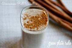 Cinnamon Roll Smoothie -       1 cup almond milk      1 frozen banana      1 heaping tbsp almond butter      1 date, pit removed      1 tsp vanilla extract (or seeds from 1 vanilla bean)      3/4 tsp cinnamon