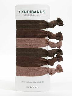 Cyndi Bands set of 6 soft elastic hair ties in Brunette browns