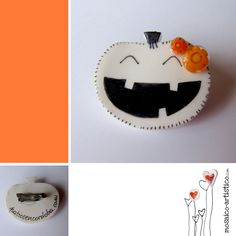 Broche simple calabaza con flor de murrina