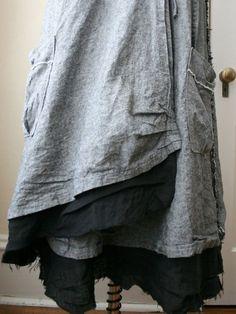 In Stock - Lagenlook Skirt / Maxi Skirt / Linen Clothing / Washed Linen Skirt: