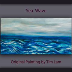 Original painting abstract sea Wave large art landscape by elseart, $359.00. Love the colors.