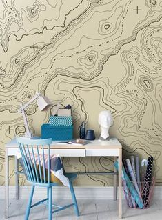 "With the re-introduction of wallpaper into modern day interior design, creating a ""feature wall"" or redecorating an entire room has […] Map Wallpaper, Photo Wallpaper, Designer Wallpaper, Decor Pad, Wall Decor, Web Design, Design Ideas, Beautiful Nature Wallpaper, Topographic Map"